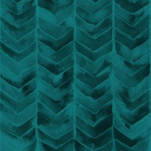 Watercolor Chevron Teal on Black // watercolor painted chevron teal green emerald mermaid scale fabric
