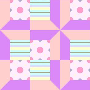 Pastel Printed Quilt Purple-Pink