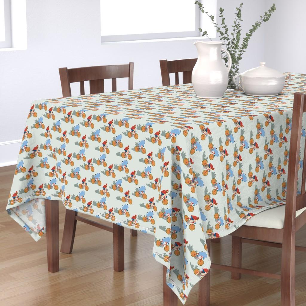 Bantam Rectangular Tablecloth featuring Paul Bunyan & Babe Biking by cindylindgren