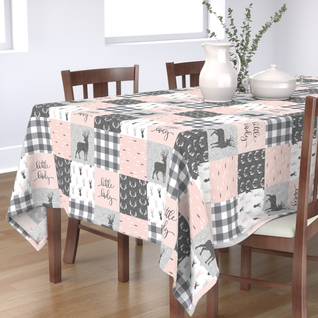 Bantam Rectangular Tablecloth featuring little lady woodland wholecloth patchwork - light pink &  grey by littlearrowdesign