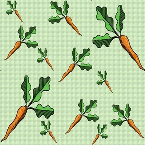 Carrot Toss - Light Green Gingham - Coordinates Available