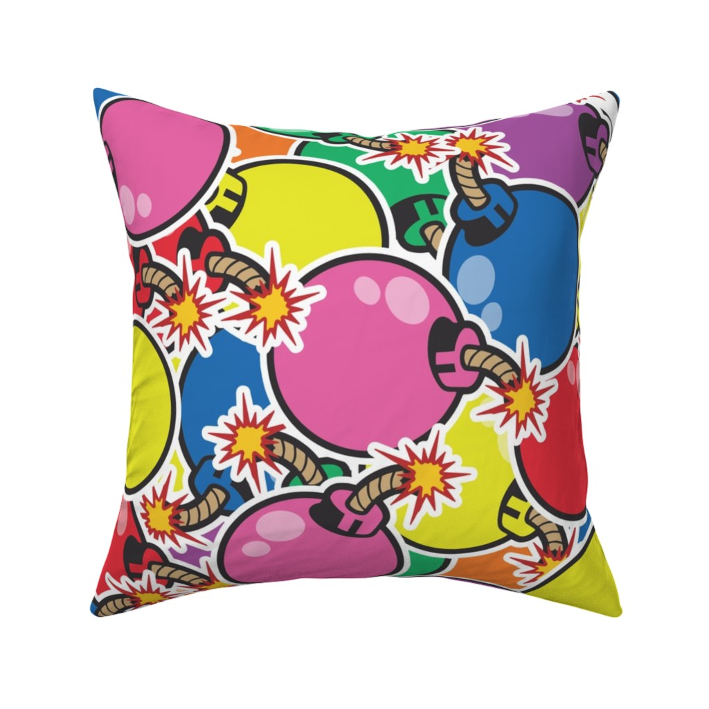 Catalan Throw Pillow featuring colorful bombs large by b0rwear