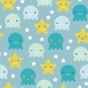 Kawaii Love under water ocean world with star fish squid and jelly fish boys
