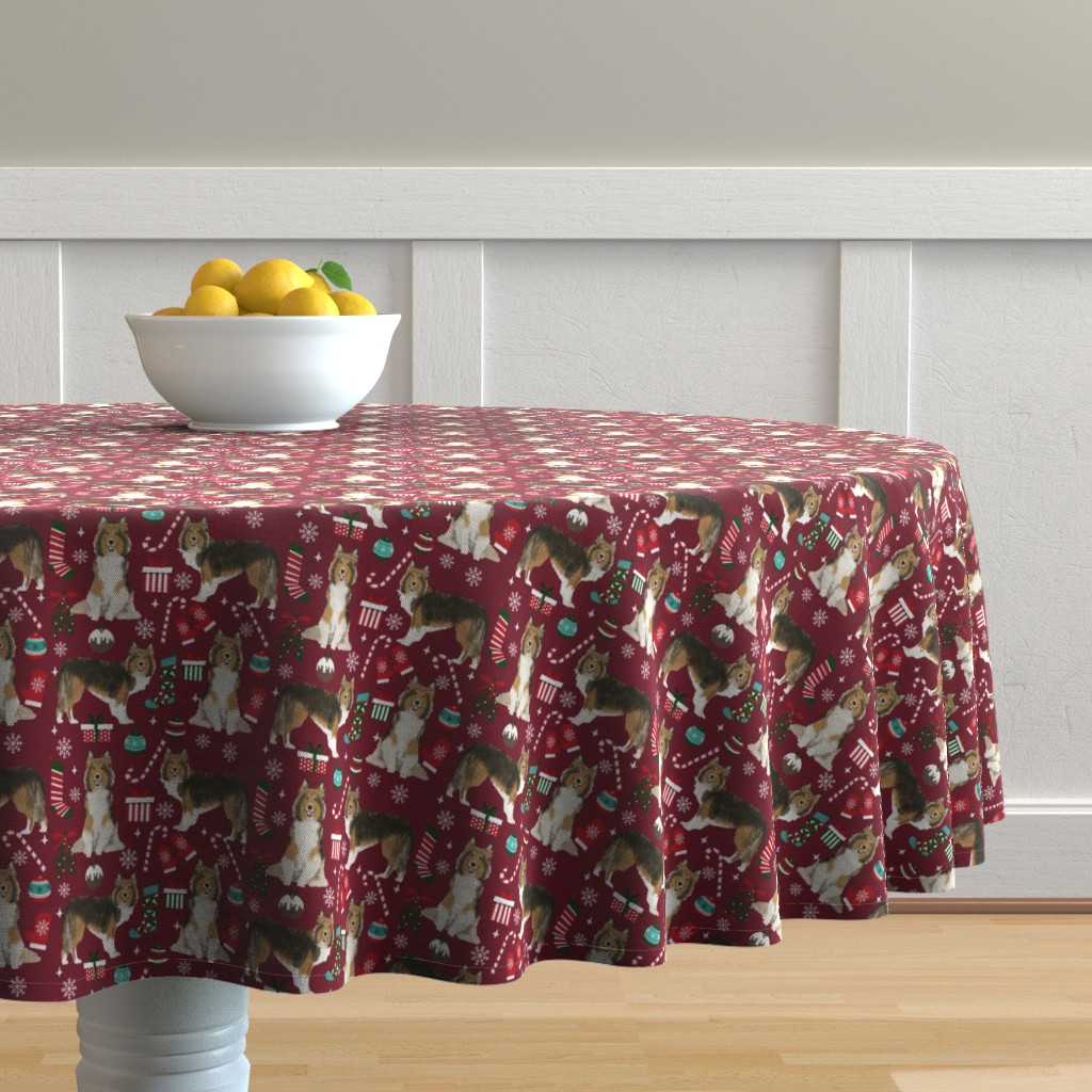 Malay Round Tablecloth featuring sheltie christmas fabric xmas holiday shetland sheepdog design - ruby red by petfriendly