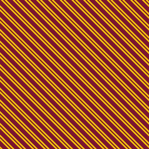 Diagonal Double Stripes in Dark Red and Golden Yellow