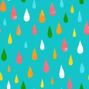 Rainbow Raindrops Blue