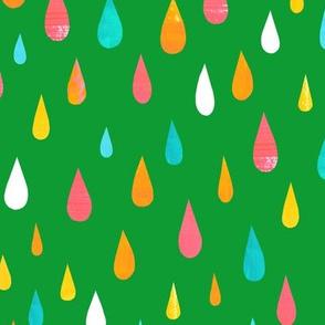 Rainbow Raindrops Green