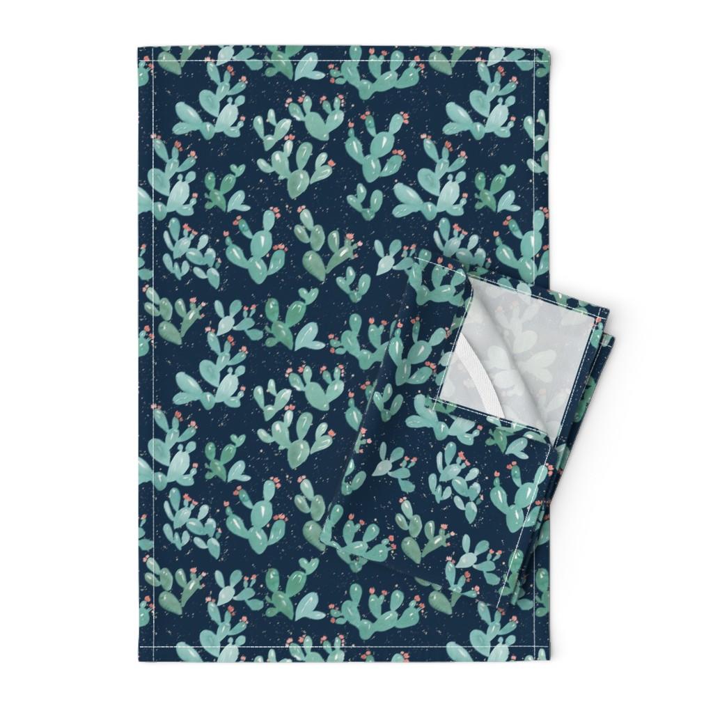 Orpington Tea Towels featuring Desert Cactus (Navy) by joy&ink