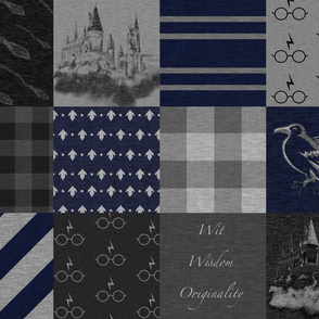 Witches and Wizards- Navy and Grey - Wit, Wisdom, Originality-Raven - Castles - Broomsticks