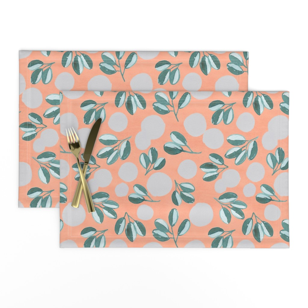 Lamona Cloth Placemats featuring Modern Magnolia (Pink) by joy&ink