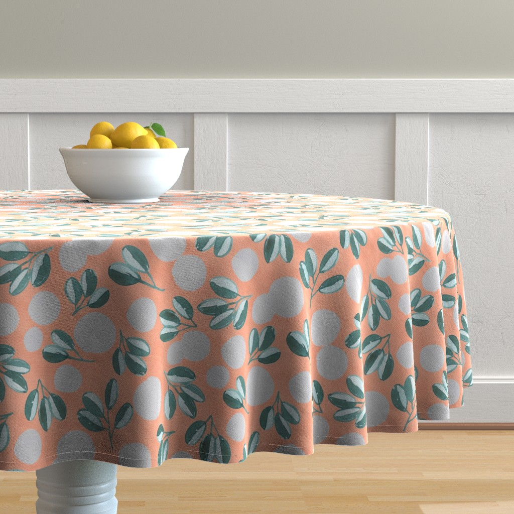 Malay Round Tablecloth featuring Modern Magnolia (Pink) by joy&ink