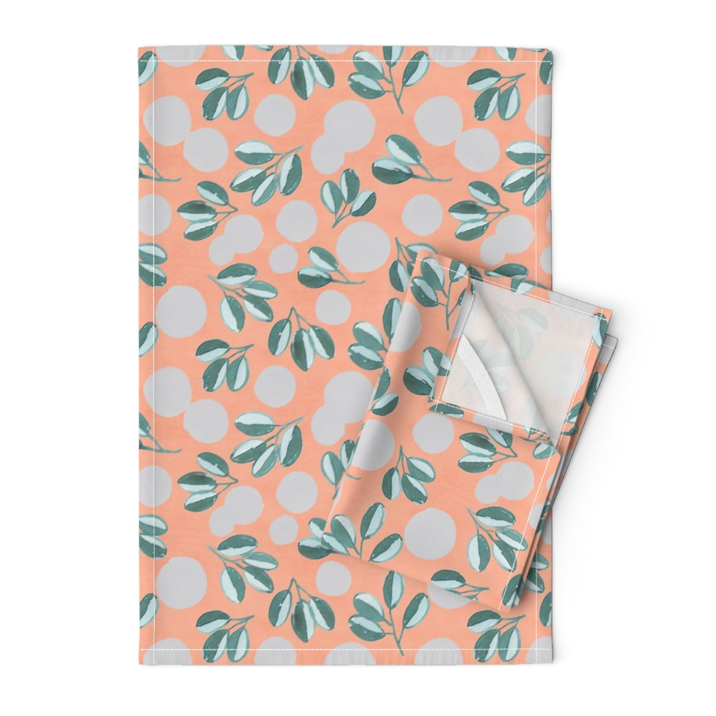 Orpington Tea Towels featuring Modern Magnolia (Pink) by joy&ink
