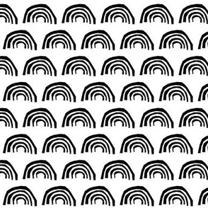rainbow black and white cool kids trendy scandi black and white rainbow circles scallop