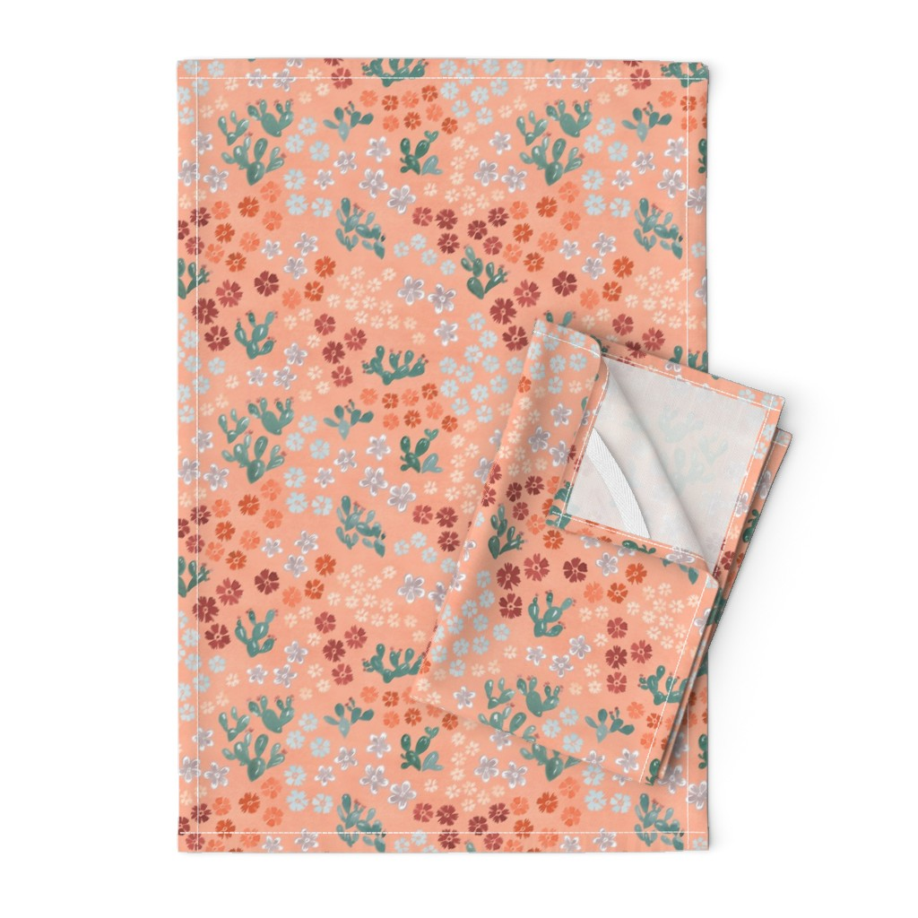Orpington Tea Towels featuring Ditsy Cactus Pink by joy&ink