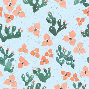 Cactus Floral (Sky Blue)