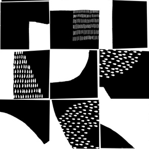 black and white typographical fragments
