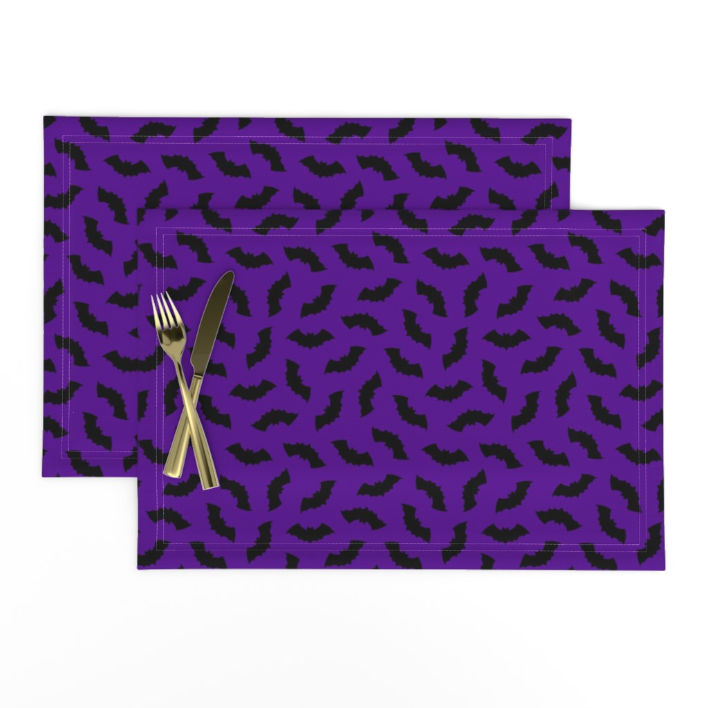 Lamona Cloth Placemats featuring Bats on Purple by thewellingtonboot