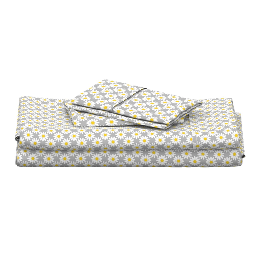 Langshan Full Bed Set featuring Daisies in Gray by thewellingtonboot