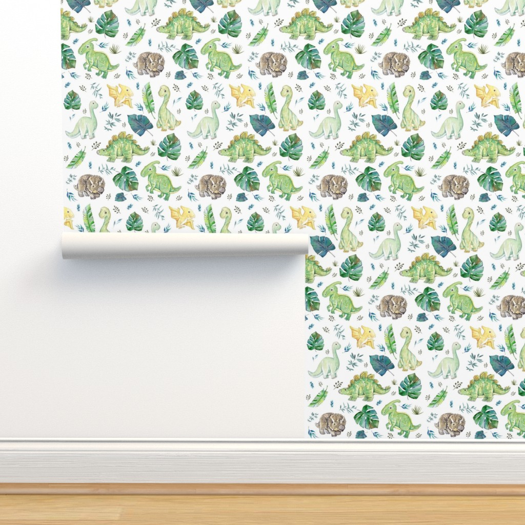 "Isobar Durable Wallpaper featuring 8"" Green & Blue Baby Dinosaurs / White by shopcabin"