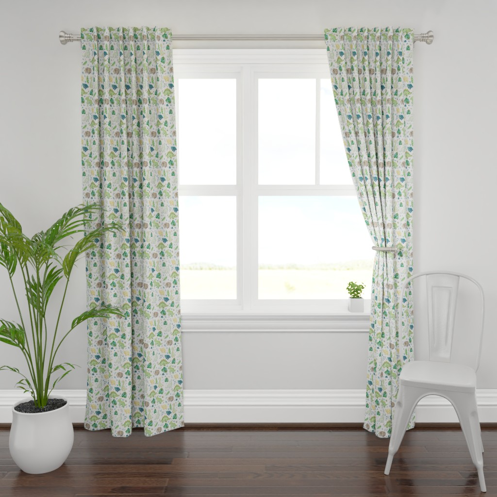 """Plymouth Curtain Panel featuring 8"""" Green & Blue Baby Dinosaurs / White by shopcabin"""