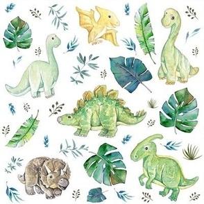 "8"" Green & Blue Baby Dinosaurs / White"