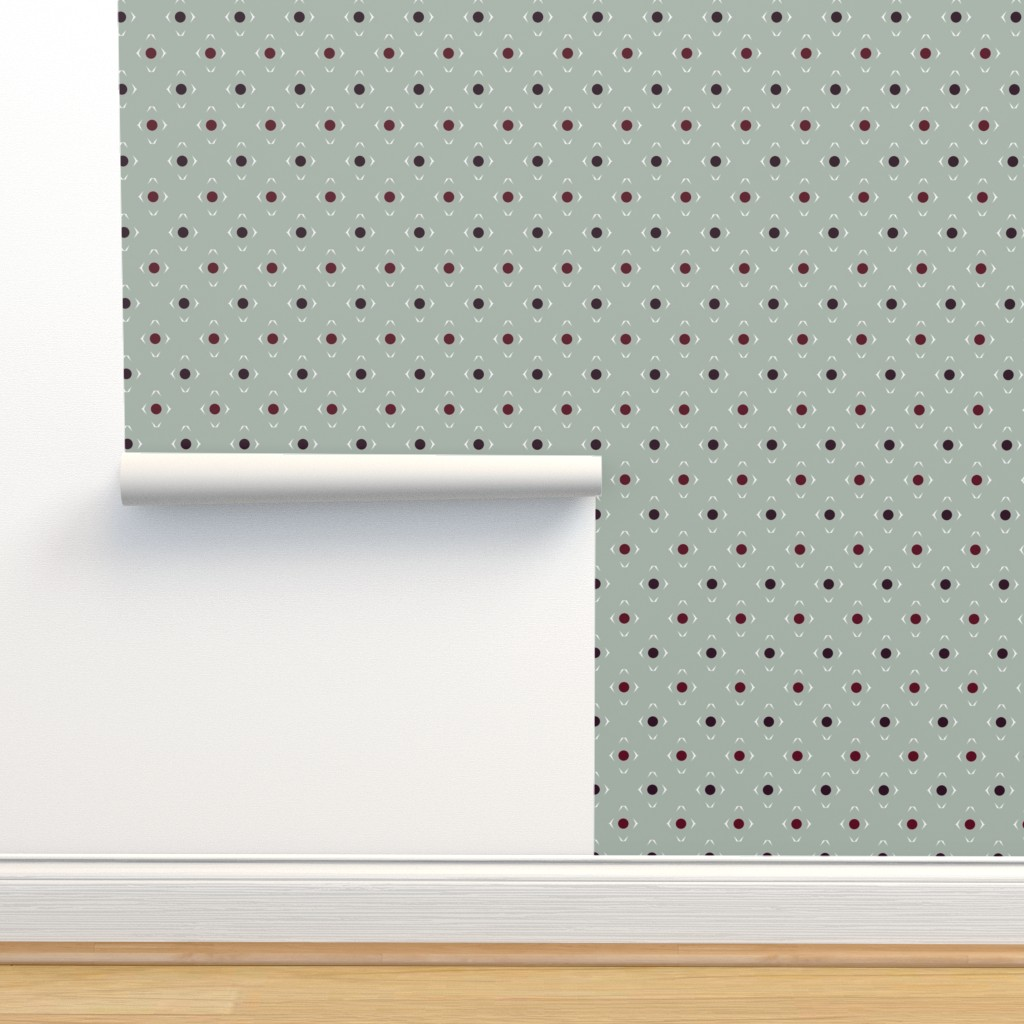 Isobar Durable Wallpaper featuring dots and diamonds in red and gray by variable