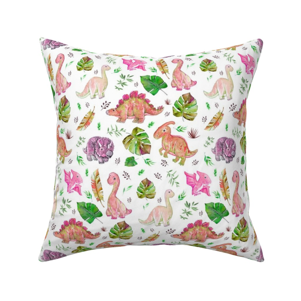 "Catalan Throw Pillow featuring 8"" Retro Colors / Pink & Green Dinos by shopcabin"