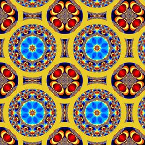Mandala mandelbrot rainbow circle quilt