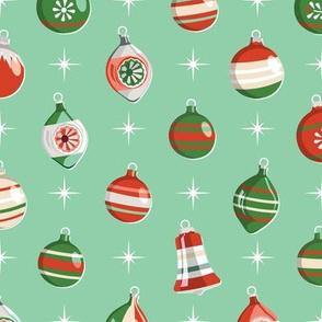 Adorn* (Reds & Greens on Jadeite) || Christmas ornaments holiday vintage mercury glass shiny brite star stars atomic midcentury