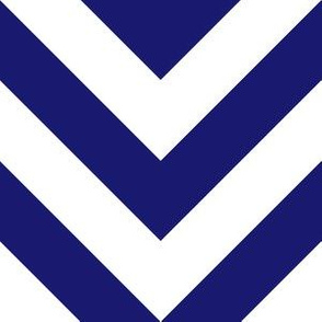 Six Inch Midnight Blue and White Chevron Stripes