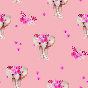 Romantic watercolor elephants bohemian zoo and autumn blossom mint