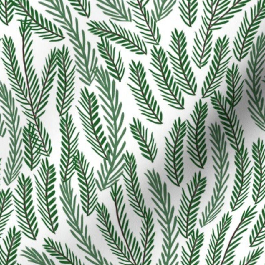 Pine Needles Christmas Tree Fabric Patte Spoonflower