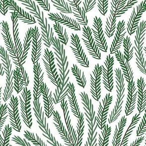 pine needles christmas tree fabric pattern minimal forest winter light