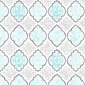 Intricate Quatrefoil (Blue Colorway)