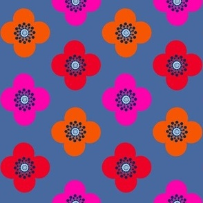 1960s flower power // geometric flower // Poppy  // Floral // bright floral //  Geometric floral//  Bloom by Magenta Rose Designs