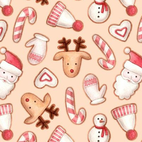 christmas gingerbread on a beige background
