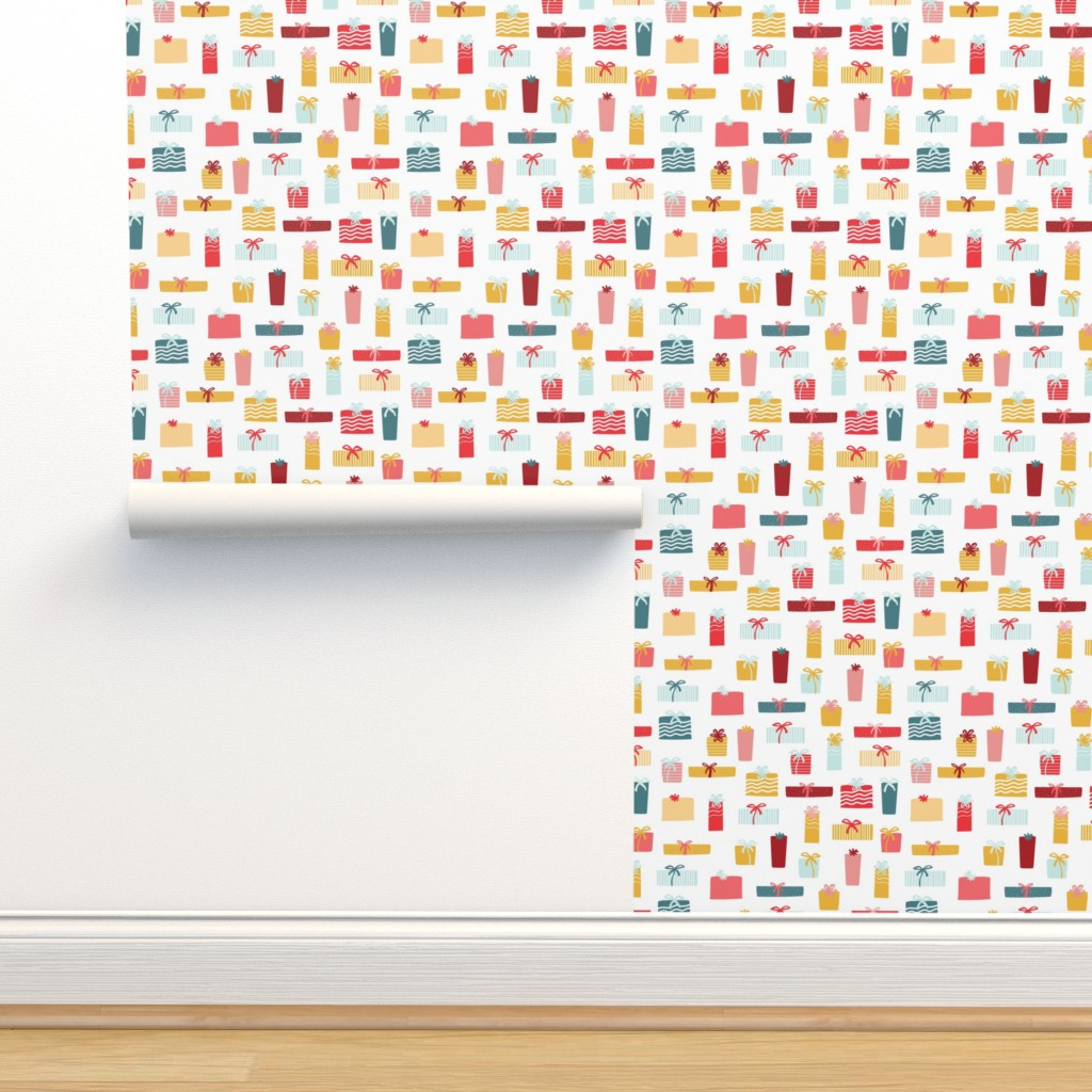 Isobar Durable Wallpaper featuring Christmas presents multicolor by lburleighdesigns