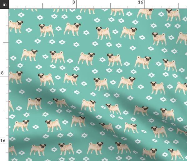 pug dog breed watercolor pet fabric