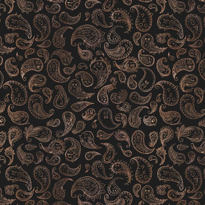 Haunted Paisley: Brown on Dark Grey