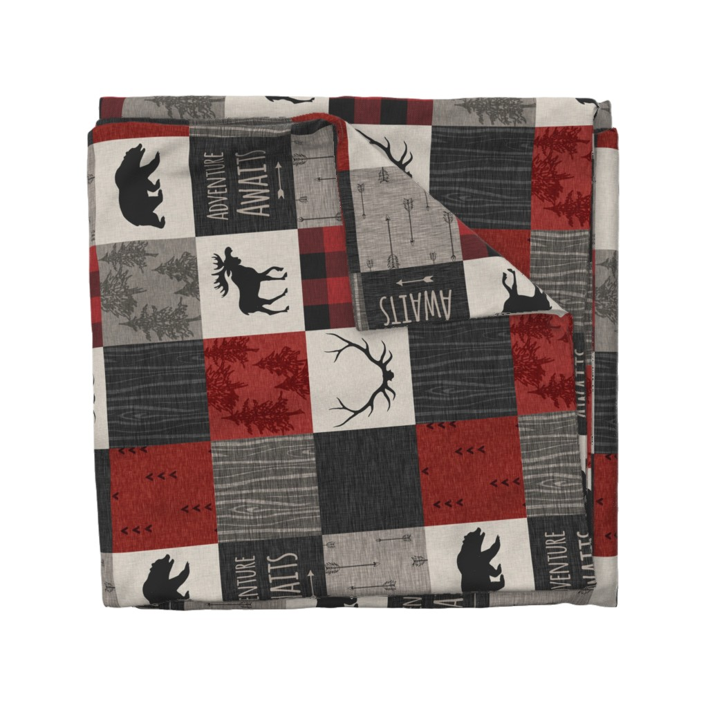 Wyandotte Duvet Cover featuring Adventure Awaits Quilt- Red, Black, Taupe, Cream - Rotated by sugarpinedesign