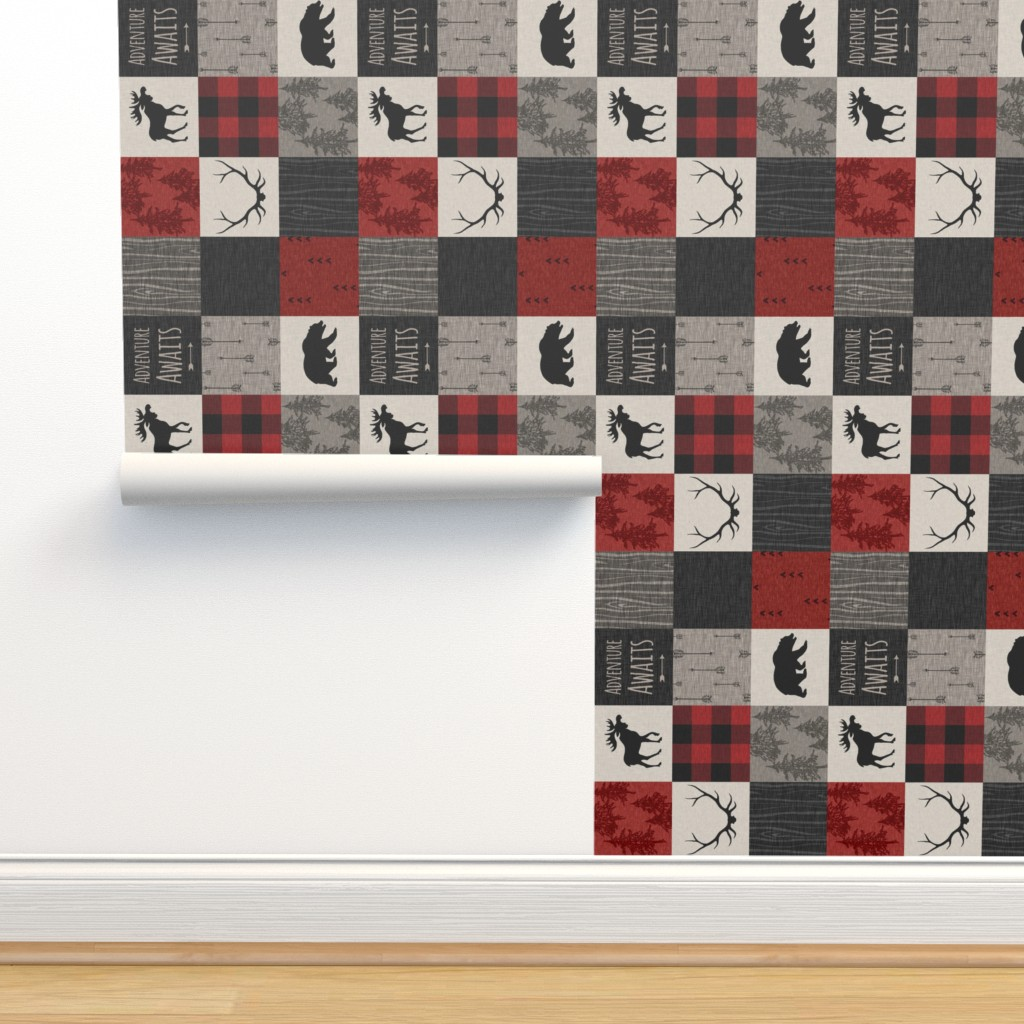 Isobar Durable Wallpaper featuring Adventure Awaits Quilt- Red, Black, Taupe, Cream - Rotated by sugarpinedesign