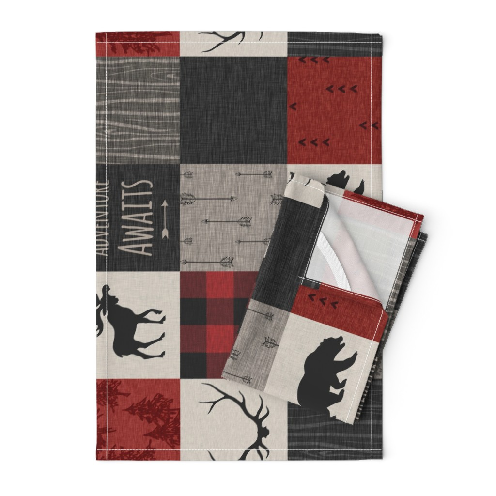 Orpington Tea Towels featuring Adventure Awaits Quilt- Red, Black, Taupe, Cream - Rotated by sugarpinedesign