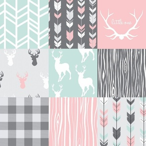 Patchwork Deer- pink, mint and grey