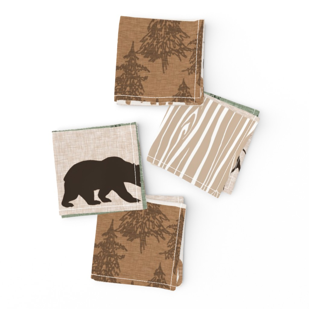 Frizzle Cocktail Napkins featuring Wild One Quilt - green and brown - bear,  moose, deer, antlers, hunter by sugarpinedesign