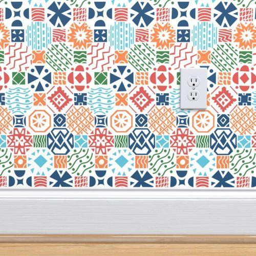 Geometrical Floor Tiles Bright Colors Spoonflower