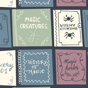 halloween magic books dark grey