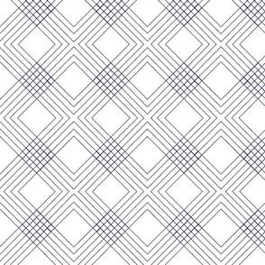 Diamond Lines Navy and White