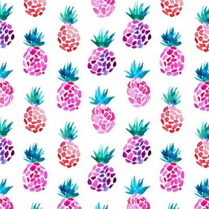 Watercolor pineapples in pink