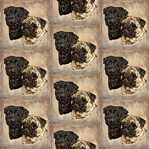 Pug dog portraits on stone