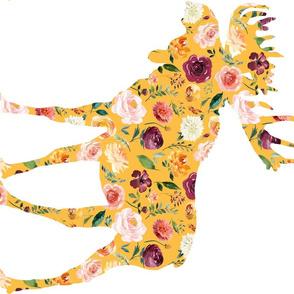 90 Degree Fat Quarter Mustard Moose Silhouette Floral